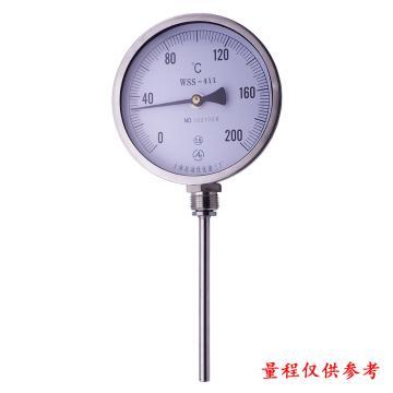 上仪 不锈钢双金属温度计,WSS-411,径向(角型),Φ100,可动外螺纹,M27*2,L=75mm,0-200°C,1.6级