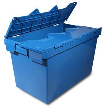 力王 可插式周转箱,PK-5332(带盖),外尺寸:525*310*320mm,蓝色