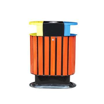 金属环保双桶镀锌板+塑木垃圾桶