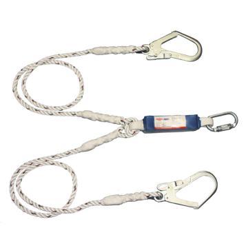 连接绳,PROTECTA双腿缓冲连接绳,单腿长度2米,配1个大挂钩和1个自动锁紧安全钩,1390398