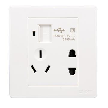正泰 NEW7S系列一位USB插座,一位两、三极插座10A,NEW7-S13210 白色