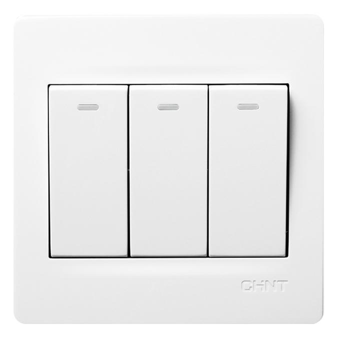 正泰 NEW7S系列三联单控开关10A,NEW7-S00500A 白色