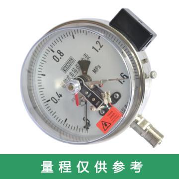 万达/WANDA 全不锈钢电接点压力表YJTFXC-60,304不锈钢,径向不带边,Φ60,-0.1~0.06MPa,M14*1.5,2.5级,380V