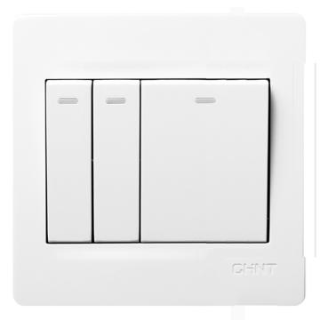 正泰 NEW7S系列二位双控、一位多控开关10A,NEW7-S07300A 白色