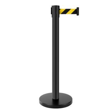安全隔离防护栏杆 2米伸缩隔离带 哑光黑定制款黑黄警示线