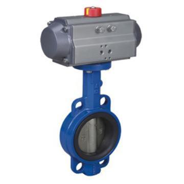 远大阀门 铸铁对夹气动蝶阀,D671X-16,DN200,双作用气缸,带三联件,请提供三联件电压