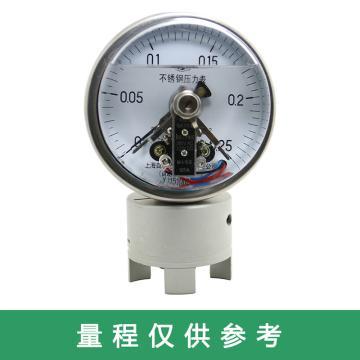 上仪 耐震电接点压力表YNXC-100BFZ,全不锈钢材质,径向不带边,Φ100,0~1.0MPa,M20*1.5,硅油