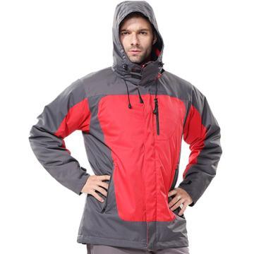 安大叔B300高级防水提花涂层布防寒服,红拼灰,尺码:XXXL