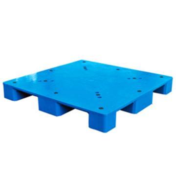 西域推薦 塑料托盤,平板九腳,尺寸(mm):1200*1200*150,藍色,動載1T,靜載4T