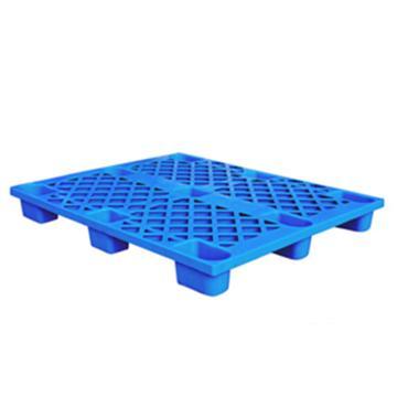 西域推荐 塑料托盘,网格九脚轻型,尺寸(mm):1100*1100*135,蓝色,动载0.5T,静载1T