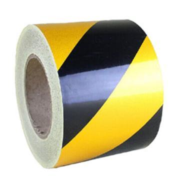 反光警示胶带(黄/黑)高性能反光自粘性材料,黄/黑,100mm×22m