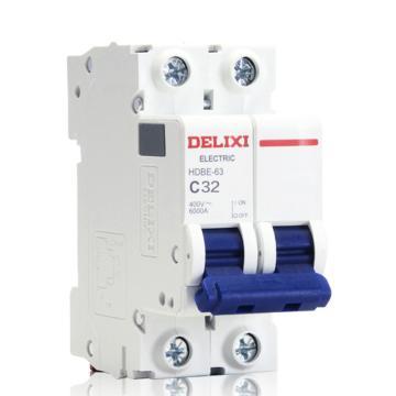 德力西DELIXI 微型断路器,HDBE-63 C型 2P 32A,HDBE632C32