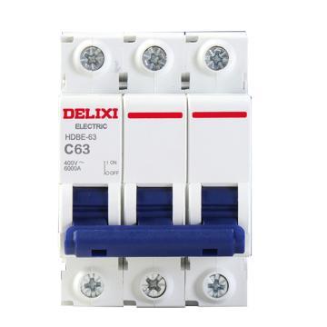 德力西DELIXI 微型断路器,HDBE-63 C型 3P 63A,HDBE633C63