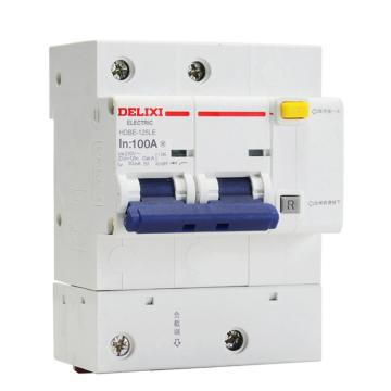 德力西DELIXI 微型漏电保护断路器,HDBE-125LE 2P C型 63A 30mA,HDBE125LE2C63