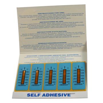 温度美/TMC 热敏贴纸Thermax不可逆系列5格I,249/254/260/280/290℃,1包10片
