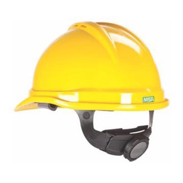 MSA V-Gard PE豪华型安全帽,黄,超爱戴帽衬,灰针织布吸汗带,涤纶顶带,D型下颏带,10172513
