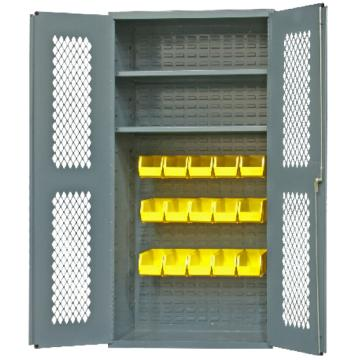 DURHAM MFG 可内视存储柜,宽*深*高(mm):914*457*1829,含15个物料箱、2个托架托架,承重(KG)::408