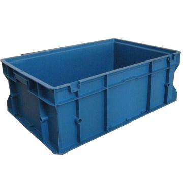 力王 PK-F无盖周转箱,外尺寸:600×400×220mm,蓝色