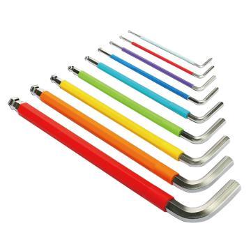 世达 SATA 彩虹系列9件特长球头内六角扳手组套,09101CH