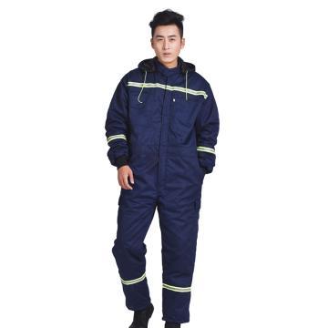 沽衣邦冬季棉连体服带反光条,深蓝色,170