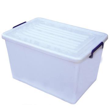 恋亚 PP整理箱,白色,外径尺寸(mm):635*435*365,容积:75L,承重:73.8kg,4个轮子