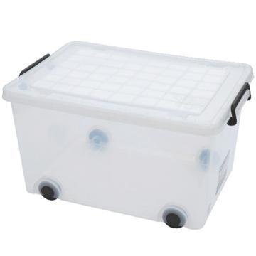 恋亚 PP整理箱,白色,外径尺寸(mm):618*430*370,容积:75L,承重:78.6kg,4个轮子
