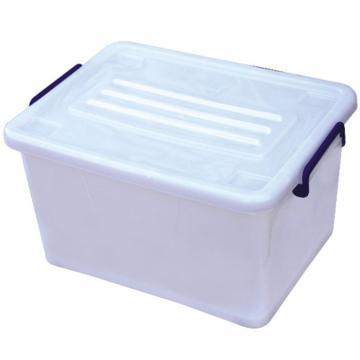 恋亚 PP高透整理箱,白色,外径尺寸(mm):475*350*265,容积:35L,承重:30.4kg,4个轮子