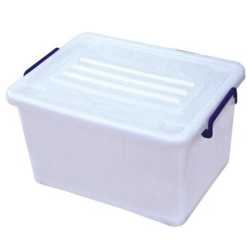 恋亚 PP高透整理箱,白色,外径尺寸(mm):515*370*290,容积:50L,承重:36kg,4个轮子
