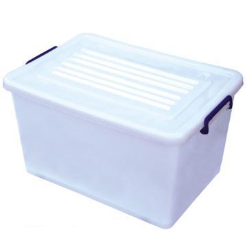 恋亚 PP高透整理箱,白色,外径尺寸(mm):680*460*395,容积:95L,承重:95.6kg,4个轮子