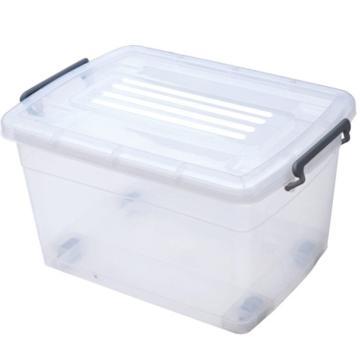 恋亚 PP高透整理箱,白色,外径尺寸(mm):530*370*285,容积:45L,承重:39.5kg,4个轮子