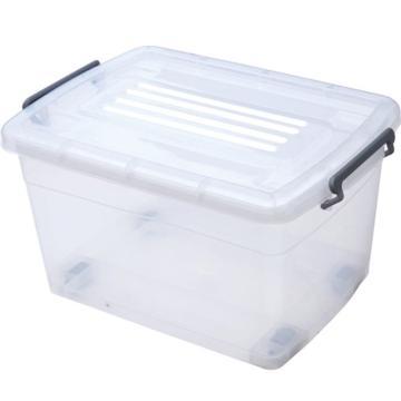 恋亚 PP高透整理箱,白色,外径尺寸(mm):570*420*330,容积:60L,承重:54.2kg,4个轮子