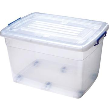 恋亚 PP高透整理箱,白色,外径尺寸(mm):720*520*440,容积:120L,承重:120.6kg,4个轮子