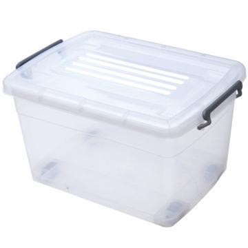 恋亚 PP高透整理箱,白色,外径尺寸(mm):790*580*480,容积:160L,承重:155kg,4个轮子