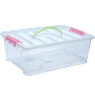 恋亚 PP高透整理箱,白色,外径尺寸(mm):360*245*125,容积:8L,承重:7.8kg,无轮子