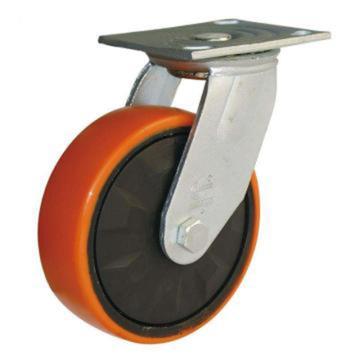 林春 重型双轴圆弧铁芯聚氨酯万向轮,载重(kg):300 直径(mm):100,4-4WJY53