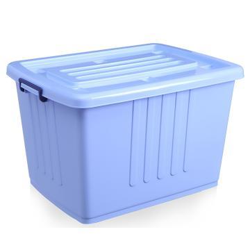 蓝色带盖PP整理箱,外尺寸:61*43*37cm,容积:100L,底部配6个滑轮,载重:20KG,VF003