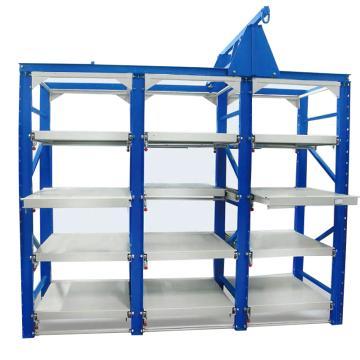 双向模具货架 抽屉载重1000KG,长2845*宽800*高2200(共12块抽屉板),立柱蓝色 抽屉板白色 ,安装费另询
