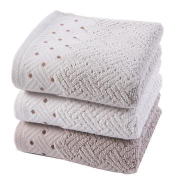 金号 毛巾家纺 纯棉提缎加厚加重面巾 三条装 波点款 165g/条 72*34cm