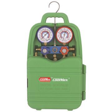格美 手提式铝架带球阀表组专用于R410新冷媒表 (球阀已连接),CM-136-GL-R410-HV,吹塑手提盒