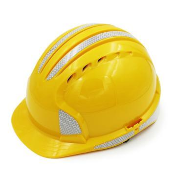 JSP 01-9611 威力9 ABS T类安全帽,黄色,反光贴膜(滑扣式)