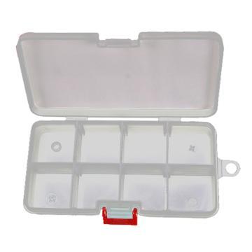 力易得 塑料零件盒,140×75×27mm,插片8格