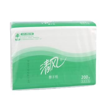 清风(Breeze)三折擦手纸, B913A单层,200抽/包 20包/箱 单位:箱
