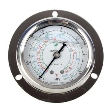 """充油压力表,椰树,1/4"""" SAE接口,多刻度,0~1.8mpa,表径62mm"""