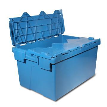 力王 可插式周转箱,PK-64320(带盖),外尺寸:600×400×320mm,蓝色