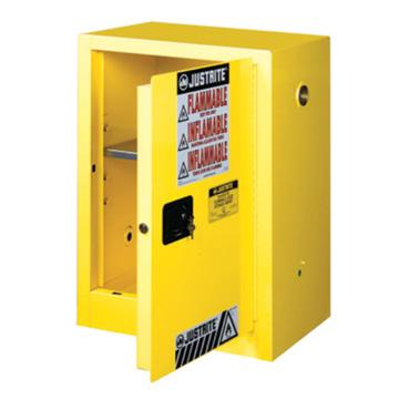 JUSTRITE/杰斯瑞特 黄色易燃液体存储柜,FM认证,12加仑/45升,单门/手动,紧凑式,8912001