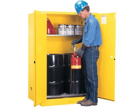 JUSTRITE/杰斯瑞特 黄色立式圆桶存储柜,60加仑/227升,单门/手动,带滚柱,8990601