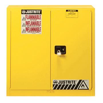 JUSTRITE/杰斯瑞特 黄色易燃液体存储柜(尺寸偏小),FM认证,30加仑/114升,双门/手动,8933001