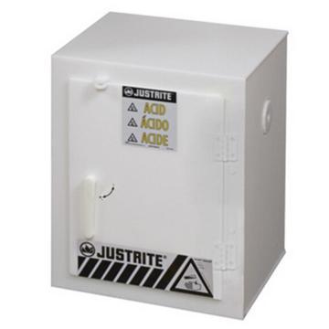 JUSTRITE/杰斯瑞特 白色实心聚乙烯存储柜,容量2.5升×6瓶,单门/手动,工作台式,24004