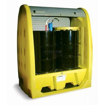 ENPAC 2桶式卷帘型油桶存储柜,带排水,4062-YE-D
