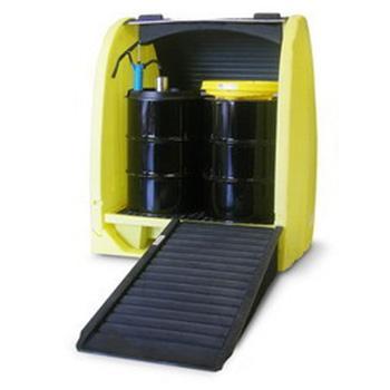 ENPAC 4桶式卷帘型油桶存储柜,带排水,4064-YE-D